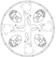 Coloriage Mandala de Pâques lapin - Tête à modeler