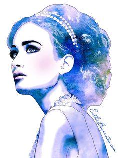 Blue Diamonds  - Watercolor Fashion Illustration Fine Art Print
