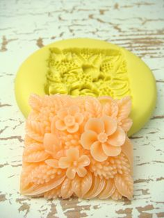 Square Flower Patch  Flexible Silicone Mold  Jewelry Mold by Molds, $5.99