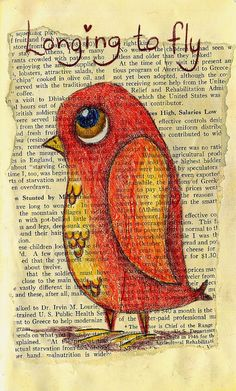 "Longing to Fly  5.5 x 8.5"" pencil, colored pencil, old magazine print Denise Baldwin   -- we should try this out: old book leaves, colour pencils, add some scrap book letters and voilá, a nice card is ready!"