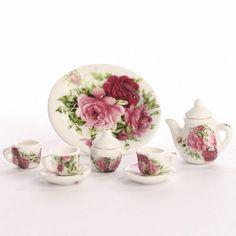 bdc5917df19aa 8Pcs Dining Ware Porcelain Tea Set Dish Cup Plate 1 6 Dollhouse Miniature  -Pink Rose