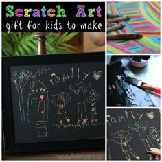 Scratch Art family portrait kids can make