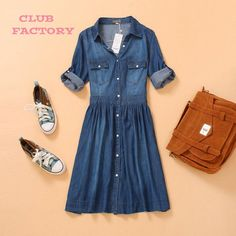 2744d1658f492 Online Shop S M L XL XXL XXXL XXXXL 2014 summer new women front buttoned  denim dresses woman plus size casual dress 2646. Club Factory