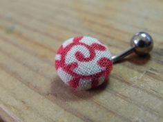 Red Spiral Fabric Button Navel Ring by bellyuttons on Etsy, $17.00