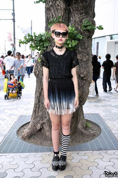 3eef057a4bbf Yuki s chic  shaved  pink  hairstyle caught our eye near LaForet in   Harajuku