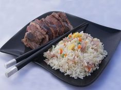 Canard laqué et riz cantonais
