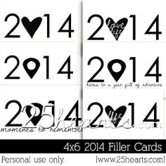 Free 2014 Filler Cards for Project Life from 25 Hearts