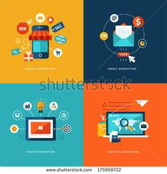 Set of flat design concept icons for web and mobile phone services and apps. Icons for mobile marketing, email marketing, video marketing an...
