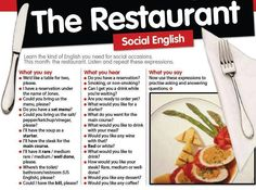 Vocabulary and phrases to use at the restaurant