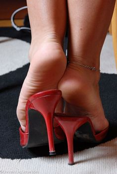 Red mules, anklet, and great feet