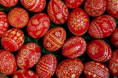 at the annual Easter egg market in Schleife, Germany... Easter egg painting is a strong part of Sorbian tradition and visual elements within the painting are meant to ward off evil.