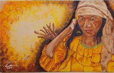 #Arte #Indigena #Mujer. La cultura #Wayuu o comunidad Wayuu es la defensa de la tradición de valores morales, espirituales y éticos. Estos son transmitidos de generacion en generacion por sus ancianos, tios. Nombre: Recolectora bajo el sol Cuadro: 70x50cm Fecha: 2014 Técnica: Acrílico sobre tela Tema: Indígena Colección Amochiya https://luisclavelclavel.blogspot.com/2017/01/arte-coleccion-de-cuadros-indigenas.html