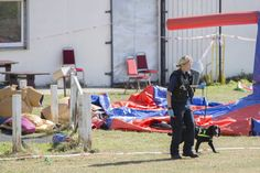 Police search in Jubilee Park, Edmonton, following the fatal stabbing of a 29-year-old man. Birthday party guests attending a party at the near-by Old Edmontonians FC clubhouse, sat on the suspected attacker until police arrived following the attack in north London, a witness has claimed. PA Photo. Picture date: Sunday September 15, 2019. See PA story POLICE Edmonton . Photo credit should read: Rick Findler/PA Wire via @AOL_Lifestyle