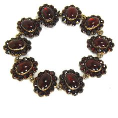 FRENCH Antique Georgian Early Victorian Bohemian Garnet Bracelet in Sterling Silver Circa 1830