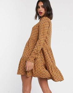 Buy Stradivarius shirt dress in beige with black dots at ASOS. With free delivery and return options (Ts&Cs apply), online shopping has never been so easy. Get the latest trends with ASOS now. Halter Neck Maxi Dress, Smock Dress, Lace Dress, Sweat Dress, Mini Skater Dress, Latest Fashion Dresses, Black Dots, Pencil Dress, Fashion Online