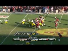 """This isn't packers related, but I didn't want to put it in a mundane board like """"random"""" because no board describes this hit! Jadeveon Clowney's huge hit in the 2013 Outback Bowl featuring South Carolina vs Michigan. South Carolina won in the final seconds 33 - 28."""