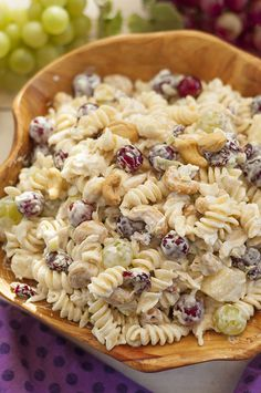 Cashew Chicken Rotini Salad loaded with chicken, cashews, fruit & veggies is my favorite pasta salad: great side dish, meal, summer BBQ or potluck dish!