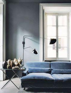 Blue velvet sofa.