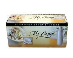 600 Mr. Creamy (MC24) Whip Cream Chargers - 8g N2O - case = 25 boxes of 24 by Mr. Creamy. $179.95. 25 boxes of 24  whipped cream chargers. Each charger contains 8 grams of pure food-grade N2O. Temporary Low Price!  Overstock!. Fast shipping from FL and CA via UPS ground!. Mr. Creamy  is a high quality brand of whipped cream chargers, made by the same manufacturer as Bestwhip. These chargers are made to the same factory specs and offer the same 5-year warranty. Because ...