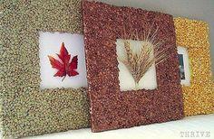 Fall frames made with lentils / legumes Unique Picture Frames, Picture Frame Decor, Cute Frames, Marco Diy, Cardboard Frames, Crafts To Make, Diy Crafts, Autumn Crafts, Frame Crafts