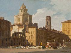 Ottavio Mazzonis Veduta della chiesa di San Lorenzo e di piazzetta Reale a Torino 1969 olio su tela, 60 x 80 cm. Fondazione Ottavio Mazzonis