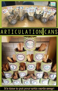 No more flipping cards! Articulation cans with sticks are where it's at! Sort them, stack them, build with them, tap them, collect them, plunk them into other containers of all kinds, and most importantly, practice the heck out of the words on them! The cans double as cute but functional decor for your speech therapy room! Get started with this freebie!