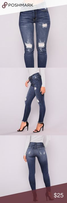 """Vasilika Ankle Jeans - Dark Denim **Price Firm Will fit size 1X with hips 48 inches or less perfectly or a size XL perfectly.  PRODUCT DETAILS Available In Dark Denim Stretch Denim High Rise Raw Hem Distressed 27"""" Inseam 55% Cotton 43% Rayon 2% Spandex Fashion Nova Jeans Ankle & Cropped"""