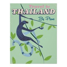 Thailand Monkey vintage travel print
