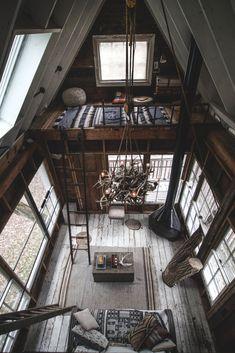 via heavywait - modern design architecture interior design home decor & A Frame Cabin, A Frame House, Tree House Designs, Tiny House Design, Tiny House Cabin, Cabin Homes, Tiny Houses, Log Homes, Design Loft