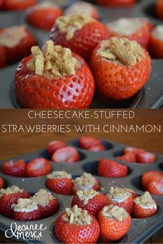 Cheesecake-Stuffed Strawberries with Cinnamon