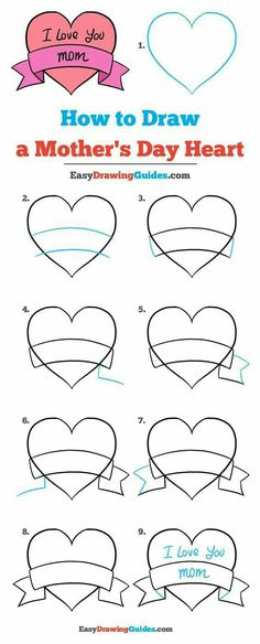 How to Draw a Mother's Day Heart – Really Easy Drawing Tutorial Learn How to Draw a Mother's Day Heart: Easy Step-by-Step Drawing Tutorial for Kids and Beginners. See the full tutorial at easydrawingguides…. Easy Drawing Tutorial, Easy Drawing Steps, Step By Step Drawing, Easy Drawing For Kids, Easy Heart Drawings, Cute Easy Drawings, Mothers Day Drawings, Drawing Tutorials For Beginners, Doodle Art For Beginners