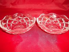 "2 Italian glass sherbet lemon ices bowl dishes 3.75"" x 1.25""  picclick.com"
