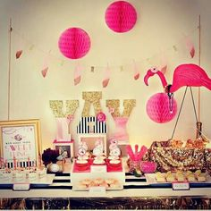 Pretty flamingo candy buffet