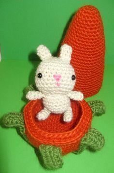 "Little Bunny & Carrot Home. Pattern in ""Amigurumi Toy Box: Cute Crocheted Toys"" by Ana Paula Rimoli :)"