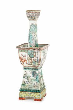 RARE ENAMELLED FAMILLE VERTE PORCELAIN RITUAL CANDLESTICK, CHINA, QING PERIOD, 19TH CENTURY 38 cm high