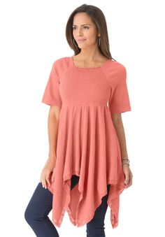 Plus Size Smocked Gauze Knit Hankie Hem Tunic