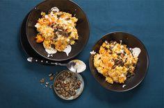 Rezept aus unserer Veggie-Box: Kürbis-satt-Risotto mit Kürbiswürfeln, Kürbiskernöl und Kürbiskerncrunch