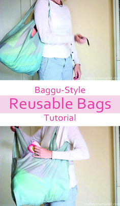 Baggu-style Reusable Bags | Mabey She Made It #earthday #green #reusablebags #baggu