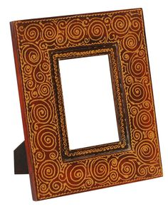 Bulk Wholesale Handmade 5x7 Wooden Red Photo-Frame / Picture Holder with Painting of Golden Color Motifs – Ethnic-Look Home Décor from India