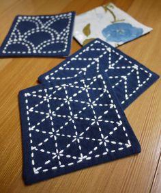 Sashiko Embroidery Kit: DIY Coasters (Set of 4) - Genki w/blue floral backing fabric. $25.00, via Etsy.