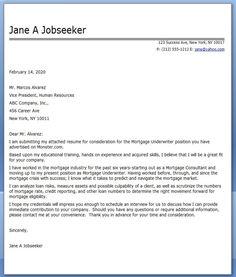 example cover letter for mortgage underwriter - Underwriter Cover Letter
