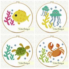 Sea Creatures Animals Cross Stitch Pattern Fish Crab Turtle Jellyfish by VickieDesigns  https://www.etsy.com/uk/shop/VickieDesigns