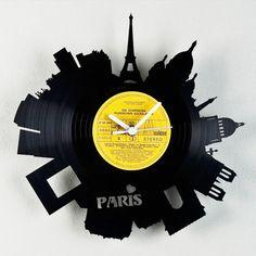 Re-Vinyl - HOME アクセサリー 古いレコードを大胆にカットした切り絵風ウォッチ