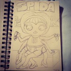 Studio Longoria works in progress. Monster Girl Challenge. Spida the spider girl. When you have this many legs you have to love a good shoe sale.