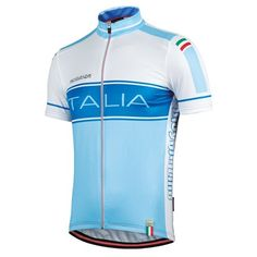 Short - sleeved cycling jersey Azzurra in white and blue, by Bicycle Line Italy (inspired by Italian National cycling team)