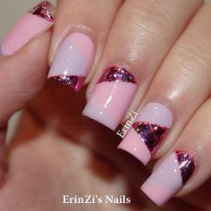 Colour-blocking in light pink and lilac cremes and a dark pink glitter! Creative Nail Designs, Creative Nails, Nail Art Designs, Fabulous Nails, Gorgeous Nails, Pink Nails, My Nails, Cute Nails, Pretty Nails