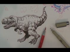How to Draw a Tyrannosaurus Rex or T-rex Dinosaur - YouTube