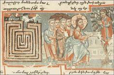 Labirinto - di fianco a un labirinto quadrangolare è rappresentata la scena in cui Gesù, seguito da una gran folla, entra a Gerico e ordina a Zaccheo di scendere dal sicomoro. (non conosco la fonte del ms)