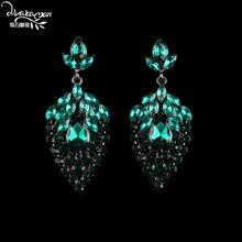 Dvacaman Delicado Boda India de Lujo Verde Cristal Pendientes de Gota de Lágrima Rhinestone Aretes de Novia Femme Bijoux…