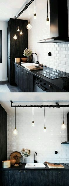 Inspiring Small Space Kitchen Lighting Kitchens arent just for cooking, theyre often the spot where people collect in the home. Whether youre looking for bigger kitchen lighting for your cooking tasks or desire to create a more open tone for friends an Kitchen Interior, New Kitchen, Interior Design Living Room, Kitchen Decor, Design Kitchen, Kitchen Modern, Kitchen Layout, Vintage Kitchen, Kitchen Colors